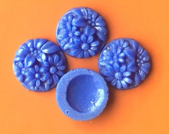 BWB Beautiful Vintage Deeply Carved Petite Cabochons (2) Periwinkle Blue Glass High Relief  12mm