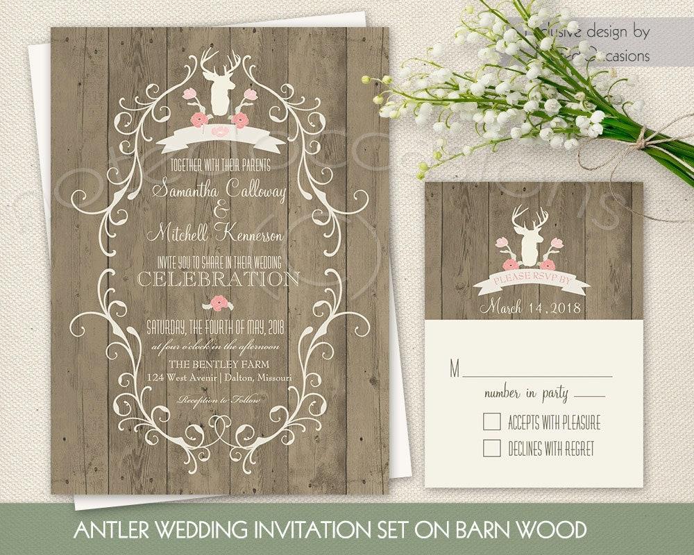 Deer Wedding Invitations: Rustic Wedding Invitation Printable Deer Wedding By