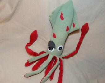 Putrid Green Zombie Squid - Fleece Plush Stuffed Animal Sea Creature Monster
