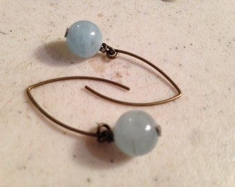 Aquamarine Earrings - March Birthstone Jewelry  - Brass Jewellery - Blue Natural Gemstone - Funky