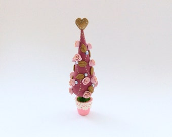 Miniature Christmas tree with pink roses and golden leaves handmade from polymer clay