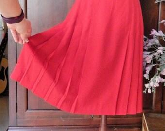 Vintage SAVION~Red Side PLEATED Career Skirt~Business~Knee Length~Size 10