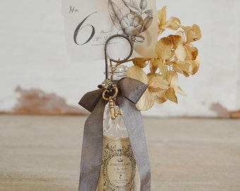 Glass Bottle Inspiration Holder - Wedding Table Number