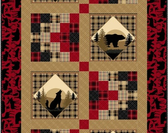 Northwoods Quilt ePattern, 3500-2, lap quilt, man quilt, wilderness quilt pattern, panel quilt pattern