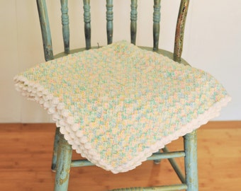 Knit Baby Blanket Vintage Blanky Crisp White & Pastel Blue Green Yellow Pink Colors Boy / Girl Throw Newborn Gift