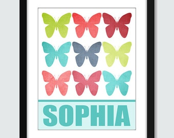 Butterfly Wall Art. Butterfly Wall Print with Custom Name. 8x10 Baby Children Nursery Wall Print Poster
