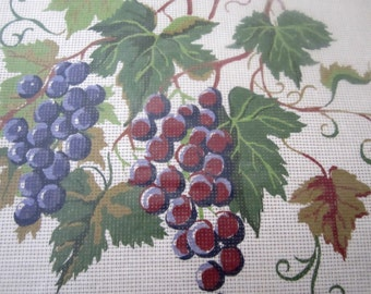 Permin of Copenhagen Needlepoint KIT 9628 Grapes and Grape Leaves Painted Canvas Pure Wool Yarns