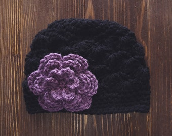 Girls Hat, Black and Dusty Purple Girl Hat, Newborn Girl Hat, Crochet Baby Hat, Crochet Girls Hat, Baby Girl Hat, Baby Hat for Girls