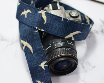 dSLR Camera Strap - Hearty Good Wishes Birds in Flight - Taupe Birds on Navy Blue - Canon Camera Strap - Nikon Camera Strap