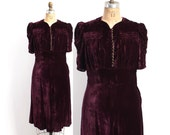 Vintage 30s DRESS / 1930s Burgundy Velvet Silk Puff Sleeve Dress M - L