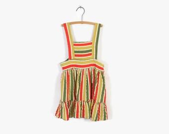 Vintage 40s Girl's Dress / 1940s Little Girl's Striped Cotton Pinafore Jumper Dress 2 -3T