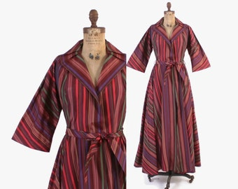 Vintage 50s DRESSING GOWN / 1950s Jewel Tone Chevron Stripe Hostess Dress Robe M