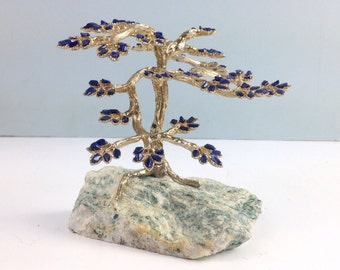Vintage Bonsai Tree, Ornamental Tree Sculpture, Mid Century Home Decor, Lapis Stones and Quartz Base, Asian Home Decor, Accent Art