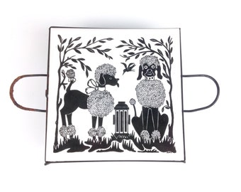 Poodle Dog Art Tile, Trivet, Mid Century Home Decor, Black and White Dog Picture Art Wall Hanging, Hot Plate, 1950s Kitchen Dining