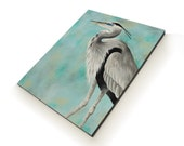 Great Blue Heron painting - shore bird art - beach house decor - made to order 16x20 - custom balance