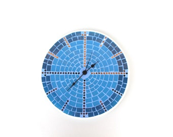 Blue Wall Clock Large Mosaic, Mosaic home decor decoration, Handmade clock, Blue Wall Clock Glass Mosaic, Modern Wall Clock, Unique Clock
