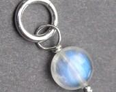 Rainbow Moonstone Charm, Moonstone Pendant, Moonstone Jewelry, Interchangeable Pendant, Moonstone Coin, Wire Wrapped Pendant, Stones 227