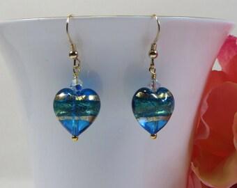 Murano Aqua Turquoise Goldfoil Heart Earrings, Graduated Colour Venetian Murano Hearts Earrings w 24kt Gold Foil, 14KT Goldfill & Swarovski