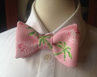 Beach Wedding Bow Ties / Pink And Green Bow Tie / Pre-Tied Bow Ties / Wedding Bow Ties / Handmade Bow Ties