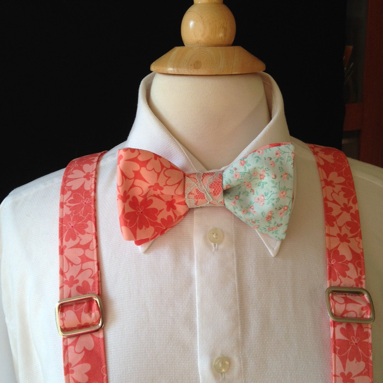 bow tie and suspender set coral and mint floral bow tie