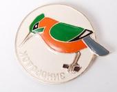 Vintage big metal  pin, bird Kingfisher . Badges from USSR.