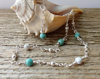 Sterling Silver Anklet, Beaded Turquoise Anklet, Gemstone Ankle Bracelet, Aqua White, Dainty Ankle Chain
