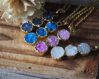 Druzy Drusy Necklace Gemstone Pendant Necklace Gem Necklace Boho Style 12209