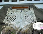 Size Medium Only Ripped Distressed Studded Denim Shorts
