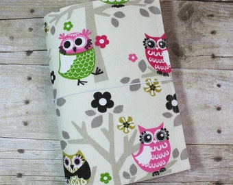 Fabric Fauxdori - Traveler's Notebook Cover - Extra Wide - Sweet Owl Print