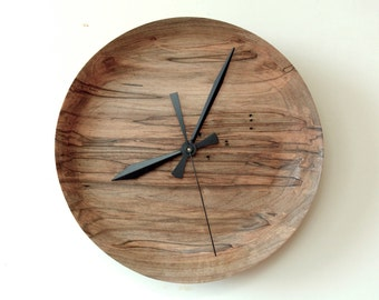 Ambrosia Maple Clock, Turned Wood Clock, Wall Clock, Hand Turned
