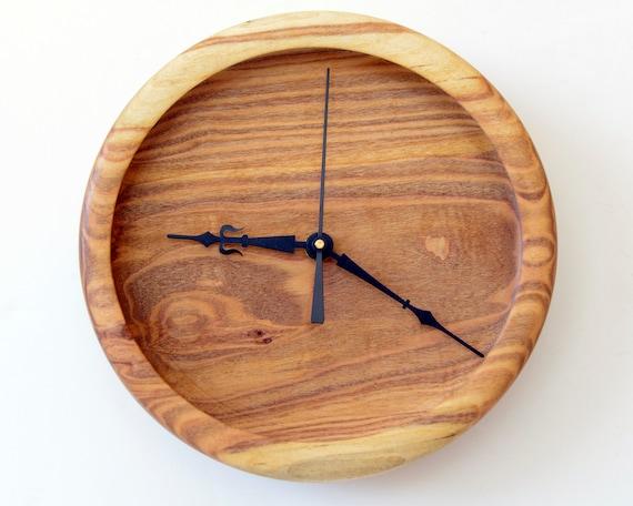 Wood Wall Clock, Turned Clock, Silver Poplar