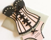 Lingerie Shower / Bridal shower - Corset invitation with panties, blush pink and black, set of 6