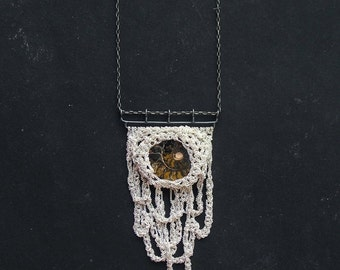 30% SALE ammonite fossil and stalactites silver crochet necklace