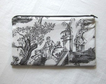 Toile Skeletons Fabric Zipper Pouch / Pencil Case / Make Up Bag / Gadget Pouch