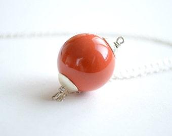 Round Pumpkin Orange Necklace, Burnt Orange Orb Pendant, Bead Necklace,