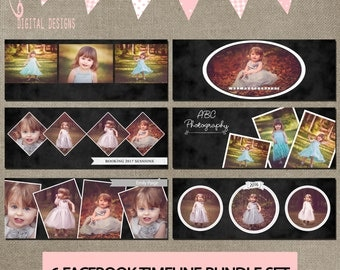 Facebook Timeline Bundle Set of 6 Cover Collage Photographer Photography Template PSD - Photo INSTANT DOWNLOAD cs or Elements Chalkboard Loo