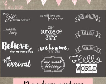 12 newborn overlays psd AND png (24 files) transparent background for photographers digital scrapbooking cs and elements INSTANT DOWNLOAD