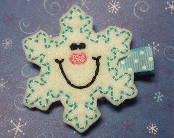 Smiling Snowflake Christmas Felt Hairbow  Clippie - For Infant Toddler Girl
