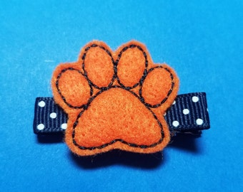 "Felt Hair Clip ""Paw"" - Auburn Tigers - Detroit Tigers - For Infant Toddler Girl"