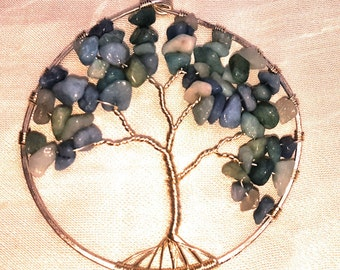 Silver Plated Pale Blue Chip Stone Tree of Life Ornament