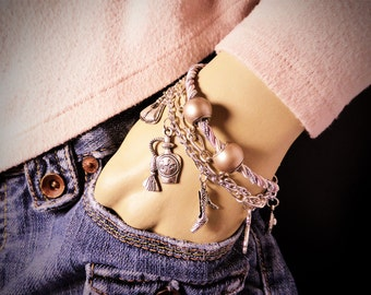 Women's GIRLY FASHION PRINCESS Themed Charm Bracelet