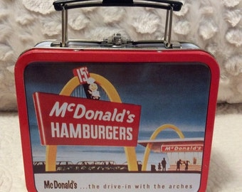 20% OFF SALE Vintage McDonald's Tin Lunchbox small Red White Americana Advertising