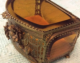 """20% OFF SALE Very Large 7.5"""" Long Vintage Amber Beveled Glass Gold Filigree Jewelry Box Casket Ormolu Footed"""