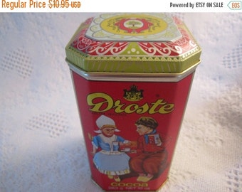 20% SALE Vintage DROSTE COCOA Tin Container made in Holland Dutch Robin Egg Blue Red Advertising