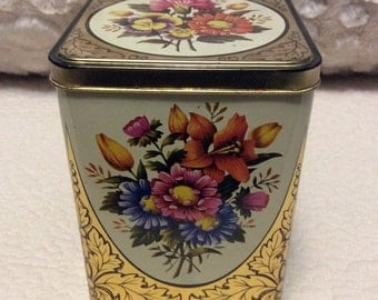 AUTUMN SALE Vintage Gold and Flower Tin Container made in England 1960s Pink Yellow Orange
