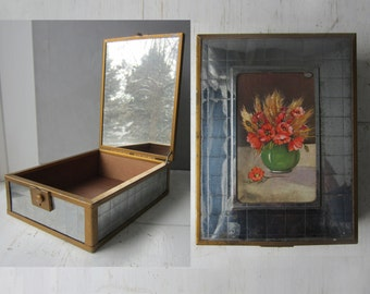 Vintage Keepsake Box with Mirror - Chromium Plate - Wood Interior