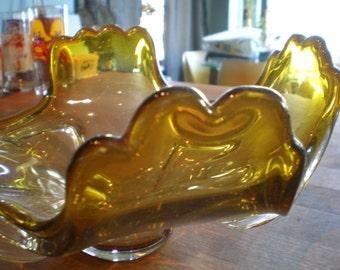 Vintage Mid Century Home Decor - Green Glass Bowl