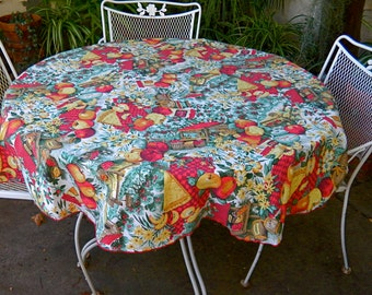 Vintage NEW ENGLAND Round TABLECLOTH Apples Harvest Thanksgiving