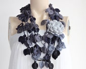 Grey Rose Scarf-Leaves  Necklace Scarf-Multicolor Lariat Scarf-Necklace Lariat Scarf-Shades of Grey Scarf-Vegan Scarf-2 pieces
