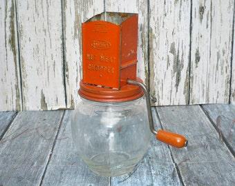 Vintage Nut Meat Chopper Grinder Androck Red Metal Top Round Glass Jar 5935